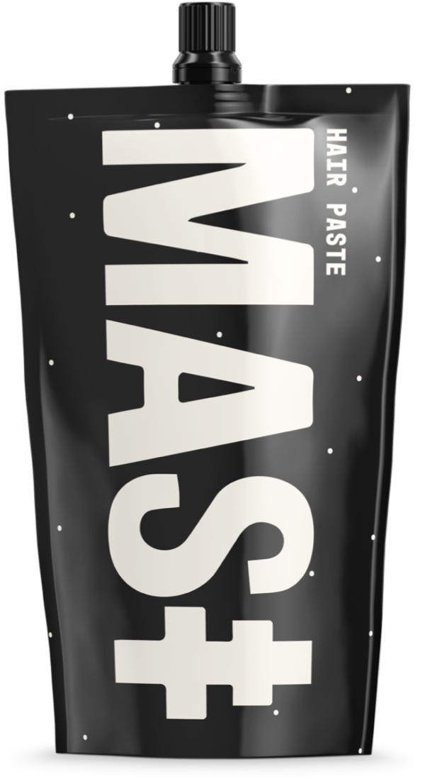 Mast hair paste tube in black with beige dots and the beige Mast logo covering most of the side.
